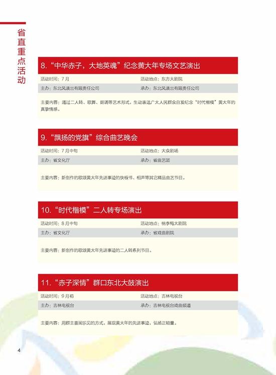 第四届吉林省市民文化节重点活动