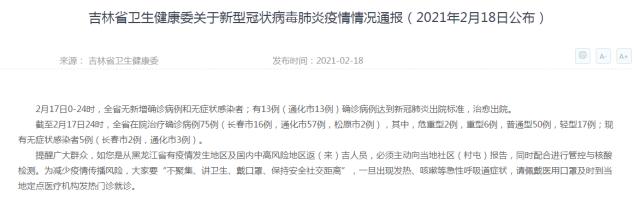 吉林省卫生健康委关于新型冠状病毒肺炎疫情情况通报(2021年2月18日公布)