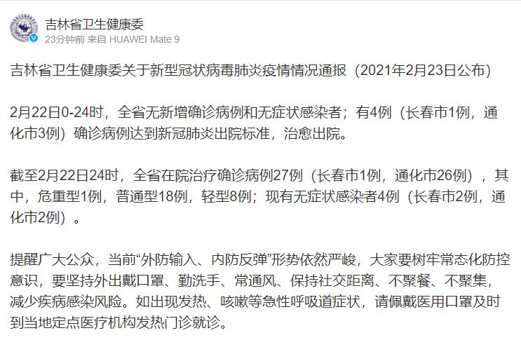 吉林省卫生健康委关于新型冠状病毒肺炎疫情情况通报(2021年2月23日公布)