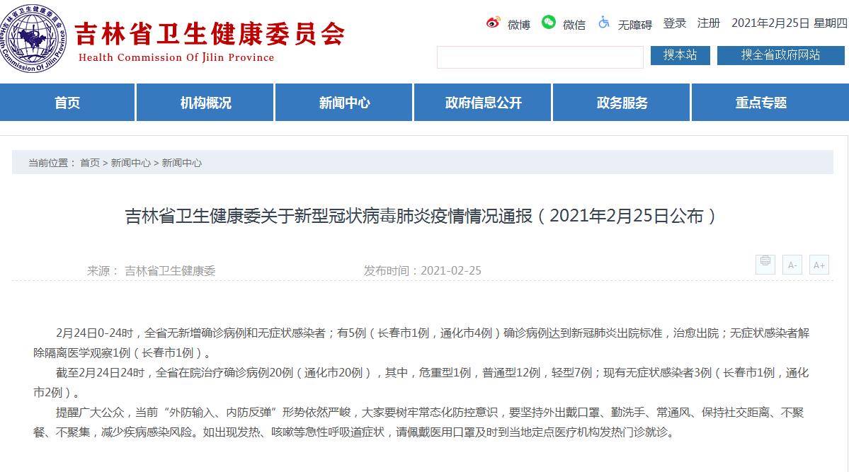 吉林省卫生健康委关于新型冠状病毒肺炎疫情情况通报(2021年2月25日公布)