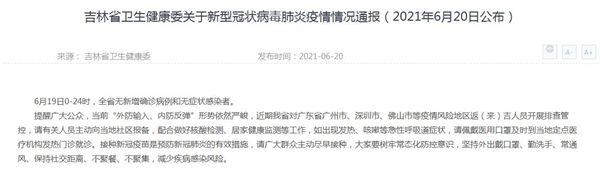 吉林省卫生健康委关于新型冠状病毒肺炎疫情情况通报(2021年6月20日公布)